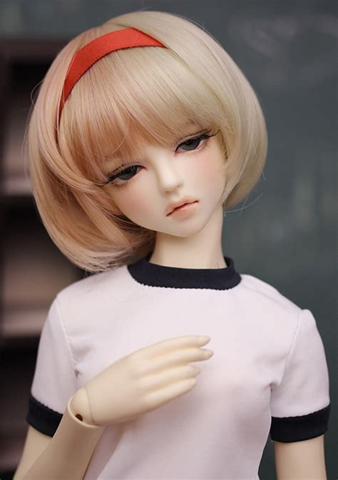 bjd doll wig size 8 9 034 bob hair school cut brown mix color ebay