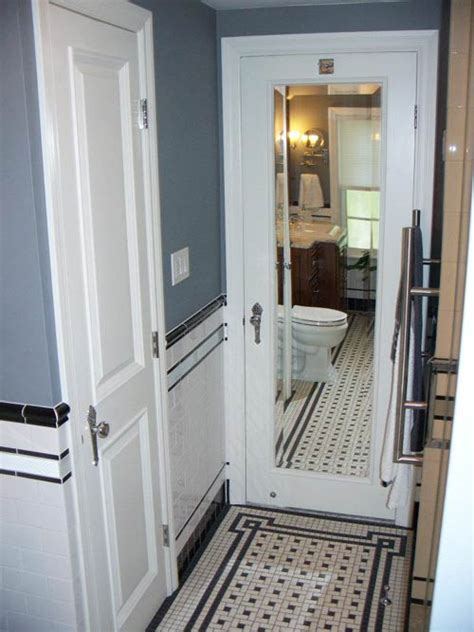 vintage bathroom door vintage tile bathroom mirrored door retro renovation