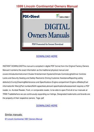 motor repair manual 1999 lincoln continental user handbook 1999 lincoln continental owners manual by kattie macedonio issuu