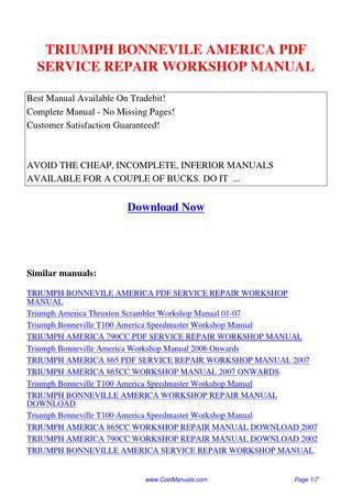 Triumph Bonnevile America Service Repair Workshop Manual