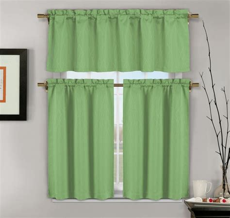 Window Valance Curtains 3 Green Jacquard Kitchen Window Curtains 1 Valance 2 Tiers Ebay
