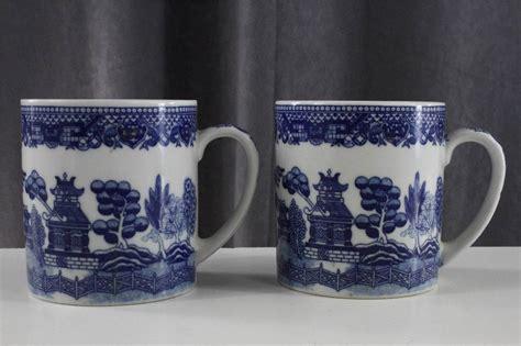 blue pattern china mugs vintage made in japan china blue willow pattern lot 2