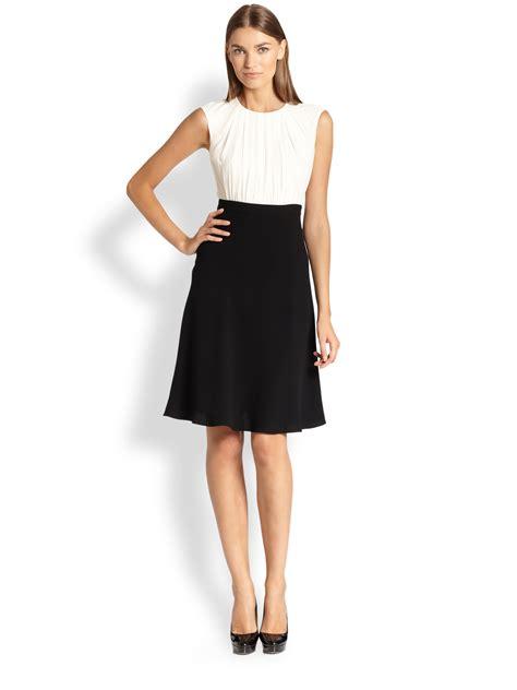 Chiffon Crepe White Dress max mara cervia silk chiffon crepe colorblock dress in black optic white black lyst