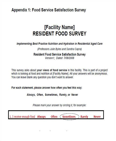 54 Printable Survey Forms Sle Templates Food Service Survey Template