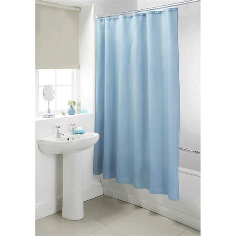 blue bathroom curtains b m plain shower curtain 180 x 180cm 302725 b m