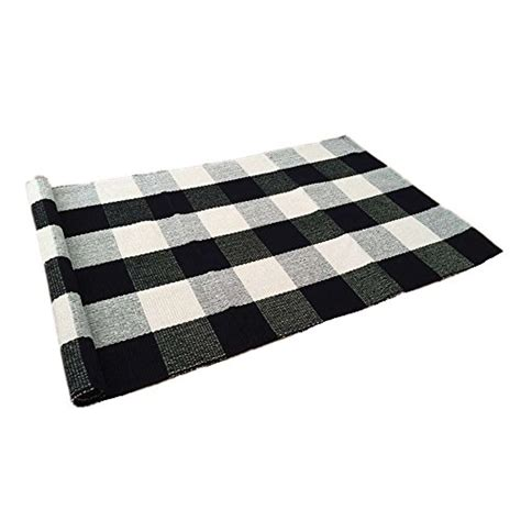100 cotton kitchen rugs ustide 100 cotton rugs black white checkered plaid rug