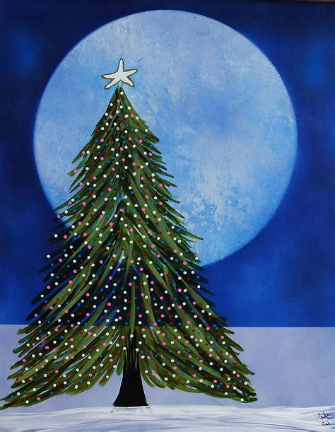 blue moon christmas tree painting by frank carter