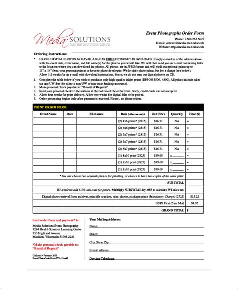8 Sle Event Order Forms Sle Templates Event Order Template