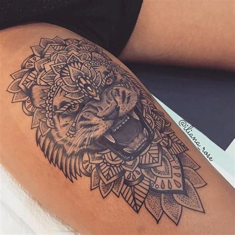 beautiful lion thigh piece art and tattoos pinterest