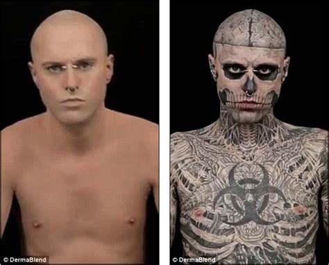 dermablend tattoo cover up youtube lady gagas zombie boy ricky genest no tattoos model covers