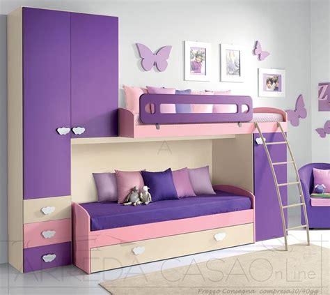 divano letto bambini cameretta bambine ragazze a soppalco divano letto viola