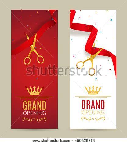 invitation card design for grand opening grand opening design template ribbon scissors stock vector