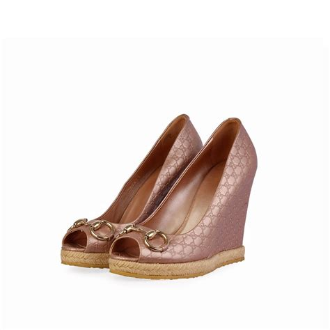 Promo Wedges Gucci Tutup gucci guccissima peep toe wedges blush s 37 5 4 5 luxity