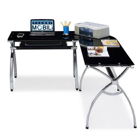 techni mobili black glass corner desk rta products techni mobili corner l shaped black glass