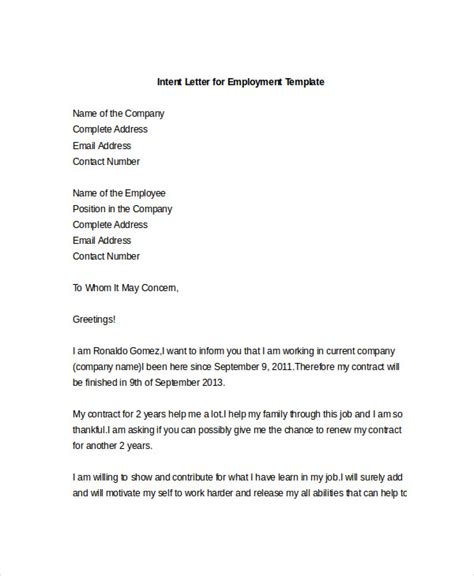 9 intent letter templates free sle exle format