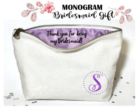 monogram personalized bridesmaid makeup bag canvas