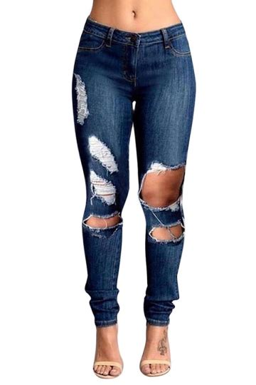 womens slimming ripped cut out denim navy blue melodicday