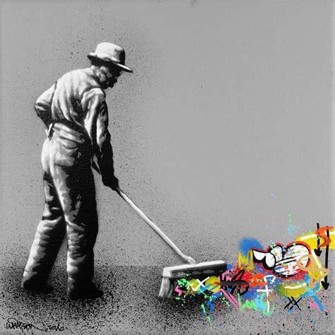 hybrid graffiti black  white stencils bring colorful