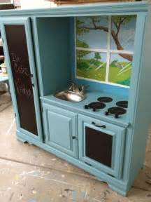 transformed entertainment center into kitchen set