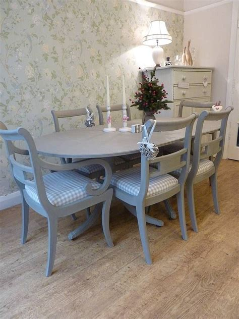 Grey Painted Dining Room Furniture Painted Vintage Dining Table And Chairs Set