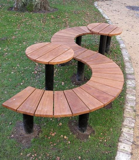 half picnic table bench half round bench s shaped seat gardening inspirations