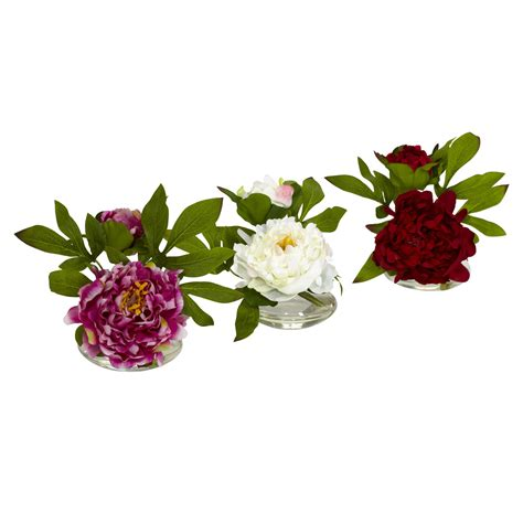 Flower Set 3 silk peony flower with glass vase set of 3
