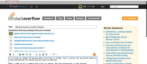 css for scrollbar in div css remove bounce on scroll in browser issue with