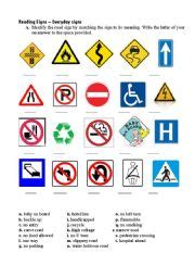 printable road sign test english worksheet road signs