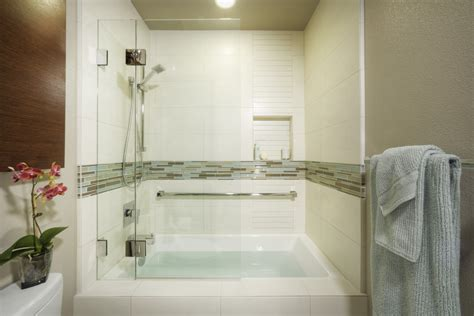 tub and shower combo bathroom modern with glass grab bar