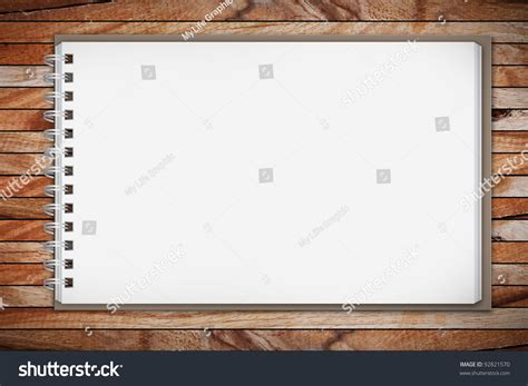 sketchbook on table sketchbook on wooden table stock photo 92821570
