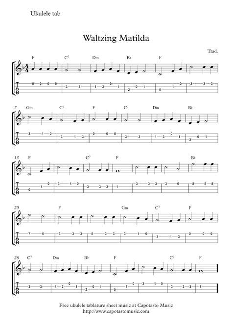 Printable Sheet Music For Ukulele | free ukulele tab sheet music waltzing matilda