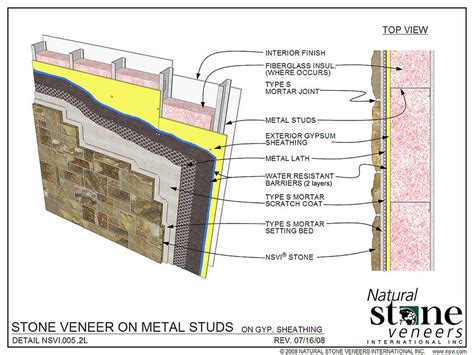 stone veneer wall section architectural specs and detail drawings natural stone