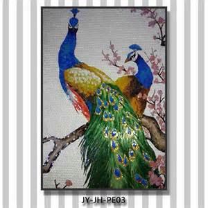glass wall murals ztclj jy jh pe01 elegant white peacock art mural handmade