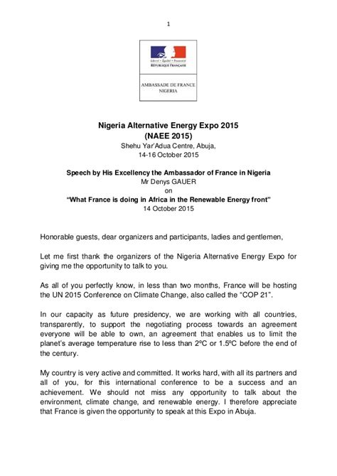 Exle Invitation Letter To His Excellency Speech By His Excellency The Ambassador Of In Nigeria Mr Denys