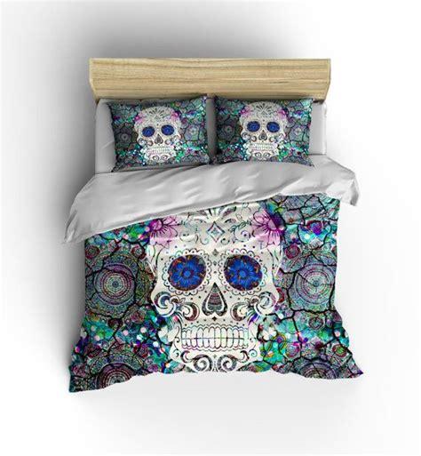 king size skull bedding sugar skull bedding duvet cover set boho crackled mosaic