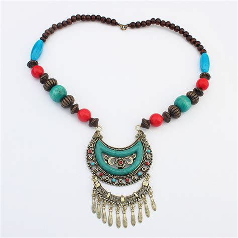 bead necklaces in bulk new fashion designer chunky turquoise bead necklace
