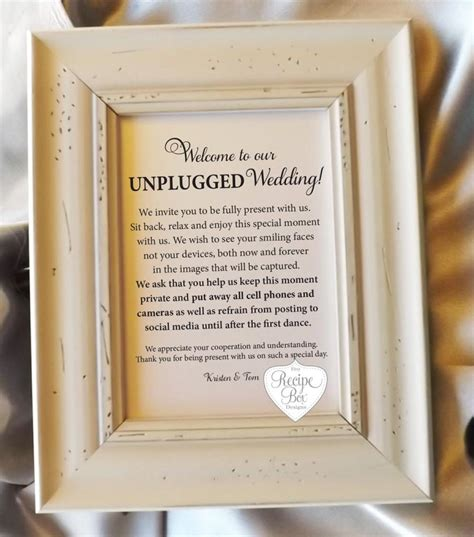 Wedding Ceremony No Phones by Unplugged Wedding Sign 8x10 Unplugged Sign For Weddings