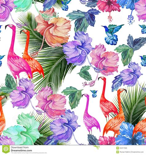 watercolor tropical pattern seamless pattern watercolor tropical flowers palm tree