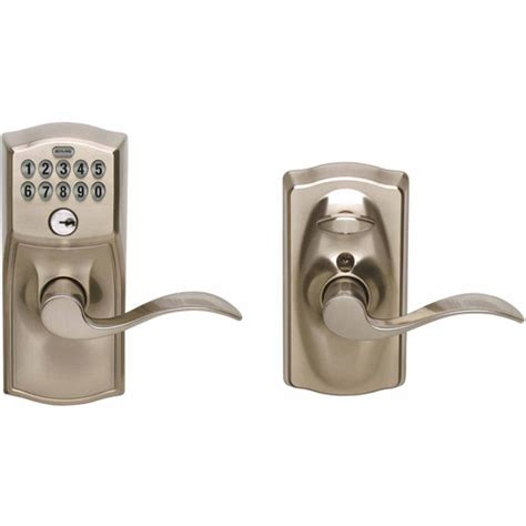 Schlage Door Keypad Change Code by Schlage Fe595vcam619acc Satin Chrome Accent Entry Lever