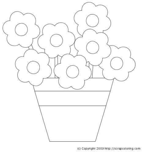 flower pot coloring page flowers in pot coloring page