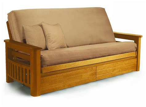 Wood Frame Futon With Mattress Guest Bed Folding Guest Beds