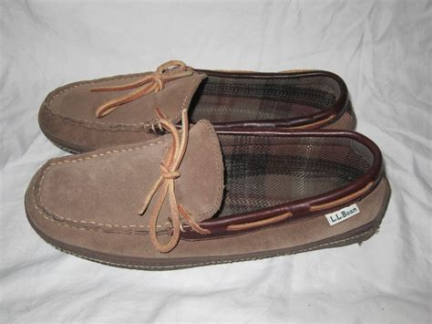 ll bean house slippers ll bean brown leather slippers men s moccasins shoes size 8 fleece lined ebay