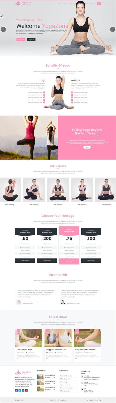 bootstrap templates for yoga yogazone yoga fitness meditation mobile responsive