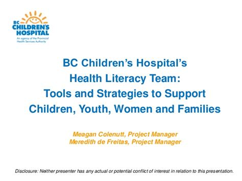 Home Design Courses Bc by Bc Children S Hospital S Health Literacy Team Tools And