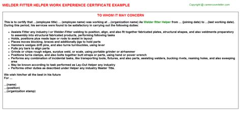Work Experience Certificate For Welder 6g pipe welder fitter work experience letters sles