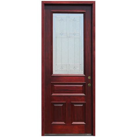 Pacific Entries 36 In X 96 In 3 4 Lite Stained Mahogany 96 Inch Exterior Doors