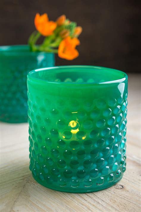 green votive holders green glass hobnail votive candle holder