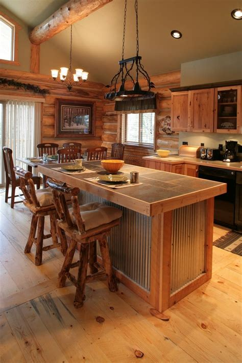 cabin cheery i like corrugated roofing used in i like the metal on this island remodel possibilities metals spaces and cabin