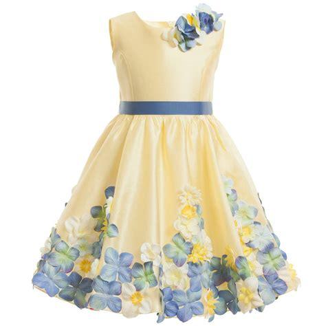 Dress Flower lesy luxury flower yellow floral dress with belt childrensalon
