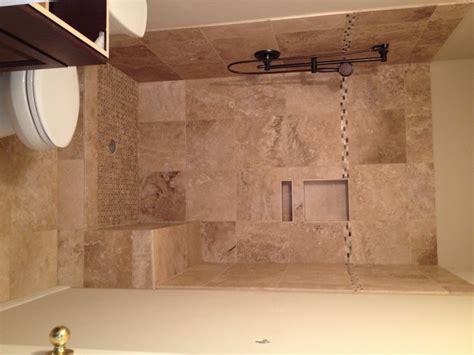 bath shower converter travertine bathroom remodeling project in tx vintage modern design build in